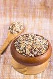 食物背景以五米品种 米混合物 browne 免版税库存图片