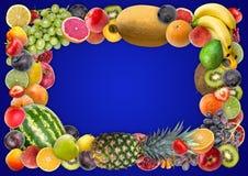 食物背景-被分类的水多的果子框架  免版税库存图片
