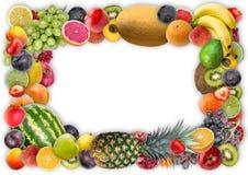 食物背景-被分类的水多的果子框架  库存图片