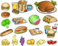 食物膳食饮料集合 免版税图库摄影