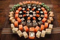食物艺术,寿司卷装饰品,日本餐馆 免版税库存图片