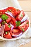 食物葱沙拉蕃茄素食主义者 库存照片