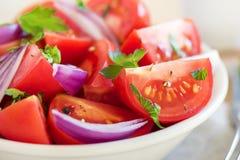 食物葱沙拉蕃茄素食主义者 免版税库存照片