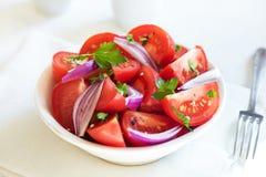 食物葱沙拉蕃茄素食主义者 免版税图库摄影
