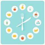 食物象Infographic时钟 平的设计 健身、饮食和卡路里逆概念 免版税图库摄影