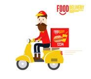 食物送货人骑黄色马达自行车 免版税库存图片