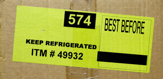 食物配件箱标签 库存照片