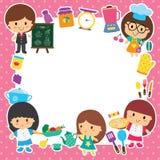 食物配制和孩子布局设计 免版税库存照片