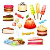 食物集合甜点 向量例证