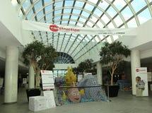 食物雕塑提出了在第10每年长岛Canstruction竞争在尤宁代尔 免版税库存照片