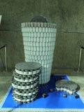 食物雕塑提出了在第10每年长岛Canstruction竞争在尤宁代尔 免版税图库摄影