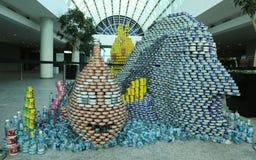 食物雕塑提出了在第10每年长岛Canstruction竞争在尤宁代尔 库存图片