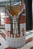 食物雕塑提出了在第21每年NYC Canstruction竞争在纽约 库存照片