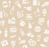 食物,无缝的样式,杂货店,铅笔阴影,唯一颜色,灰色,传染媒介 图库摄影
