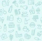食物,无缝的样式,浅兰,等高,杂货店,传染媒介 库存照片