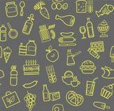 食物,无缝的样式,等高,灰色黄色,杂货店,传染媒介 免版税图库摄影