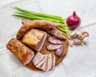 食物,香肠,肉,顶视图 库存照片