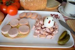 食物, Lyoner,香肠,德国香肠Lyoner,波隆纳香肠,德国Fleischwurst,德国香肠Lyonerring,香肠圆环, 库存图片