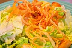 食物 与油煎的洋葱圈的凯萨色拉 免版税库存图片