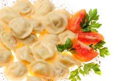 食物pelmeni 免版税图库摄影
