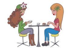 食用二个的女孩咖啡 库存照片
