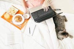 食用的妇女与她的便携式计算机一起使用和早餐 免版税图库摄影