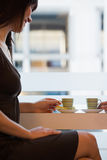 食用的妇女茶 库存图片
