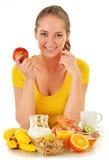 食用的少妇早餐。平衡饮食 库存图片
