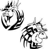 食肉动物的鹿头纹身花刺 免版税库存图片