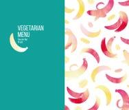 素食菜单的模板面孔 免版税库存照片