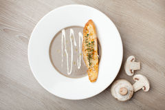 素食蘑菇奶油汤purée用被烘烤的面包乳酪sl 免版税图库摄影