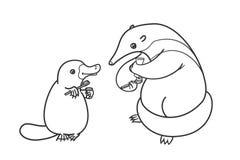 食蚁兽和platypus刷他们的牙和 烧杯 皇族释放例证