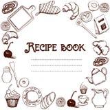 食谱书设计  手拉的乱画对象食物和器物 菜谱 皇族释放例证
