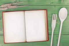 食谱书顶视图 免版税库存图片