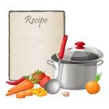 食谱卡片 厨房笔记空白模板传染媒介例证 烹调在桌上的笔记薄与厨具和菜 库存图片