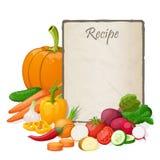 食谱卡片 厨房笔记空白模板传染媒介例证 烹调在桌与和菜上的笔记薄 库存照片