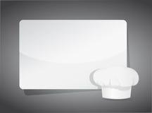 食谱模板-在白纸的厨师帽子 免版税图库摄影
