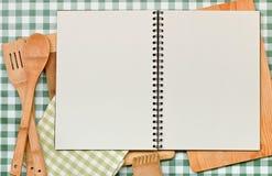 食谱背景绿色方格花布 免版税库存图片
