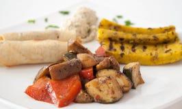 素食食物板材  免版税库存图片