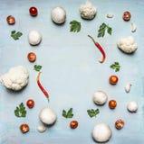 素食食物框架花椰菜西红柿酱和红辣椒荷兰芹蘑菇土气木背景顶视图sp的概念 免版税库存图片