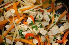 素食食物豆腐和菜 库存照片
