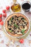 素食饼用茄子和松果 免版税库存图片