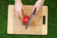 素食主义者和烹调在题材的本质:拿着一个红辣椒和一把刀子在切板和backgroun的人的手 图库摄影