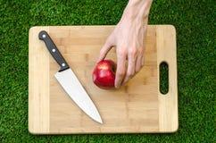 素食主义者和烹调在题材的本质:拿着一把刀子和一个红色苹果在切口公猪的背景的人的手 库存图片