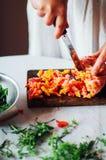 素食主义者和烹调 夫人递裁减绿色菜,准备好 免版税库存照片