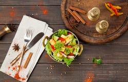 素食主义者和素食印地安餐馆盘,新鲜蔬菜沙拉 库存图片