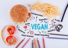 素食主义者在桌上的题字 健康饮食、生活方式、身体和精神健康概念 图库摄影