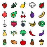 素食主义者在白色背景设置的食物象 免版税库存照片