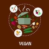 素食主义者平展infographic设计 库存图片