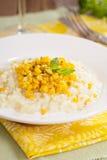 素食主义者意大利煨饭用被烘烤的玉米 免版税库存图片
